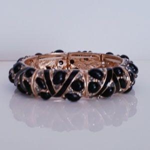 Black & Gold Stretch Bracelet with Rhinestones EUC